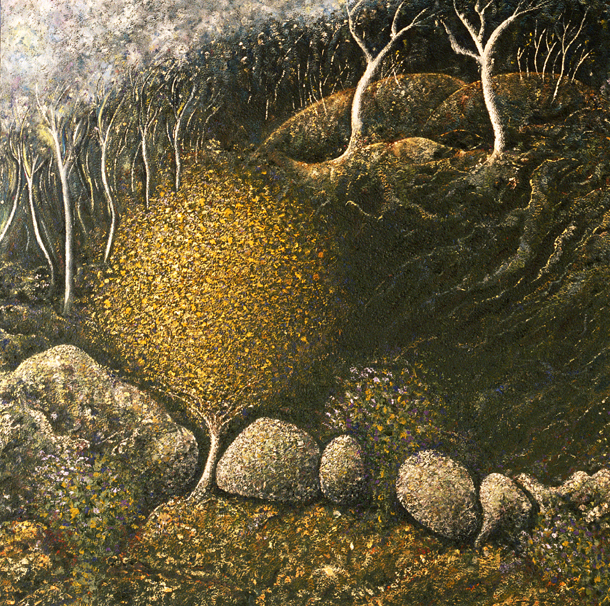 Golden Wattle and Hardenbergias - painted by Alan Moloney - 102cm x 102cm . Oil on Canvas