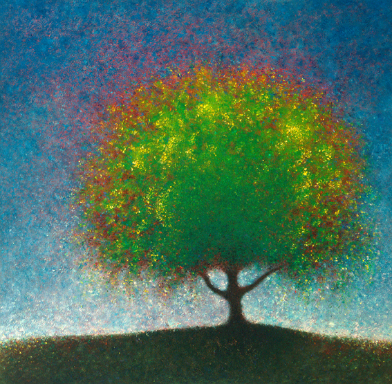 Spring Elm II - painted by Alan Moloney - 102cm x 102cm . Oil on Canvas