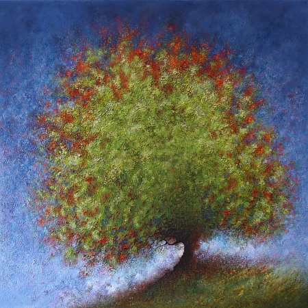Spring Elm 4 - painted by Alan Moloney - 102cm x 102cm . Oil on Canvas